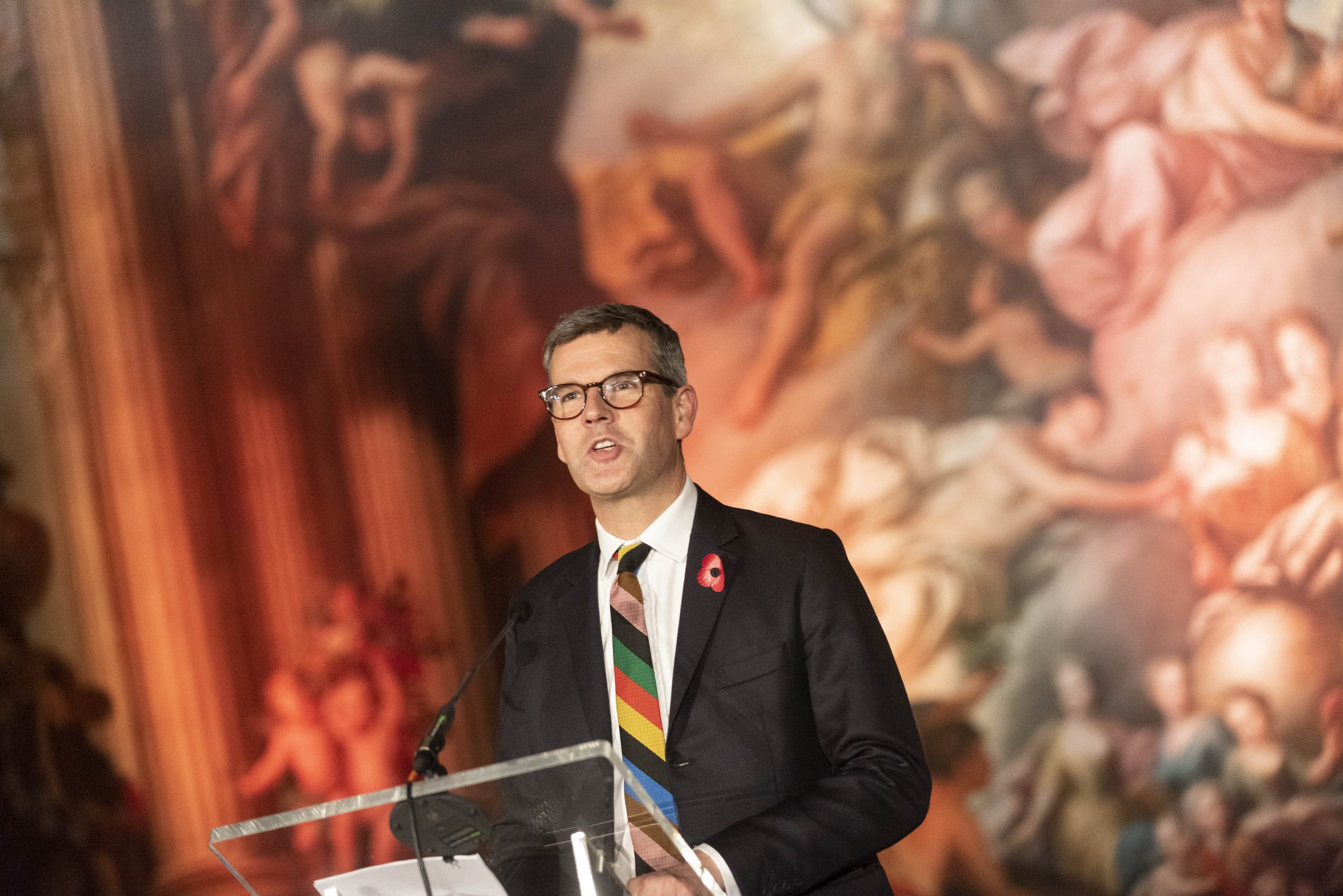 Ben Pentreath speaking to the DLN at the Painted Hall, at Greenwich, during the 2019 London Summit.
